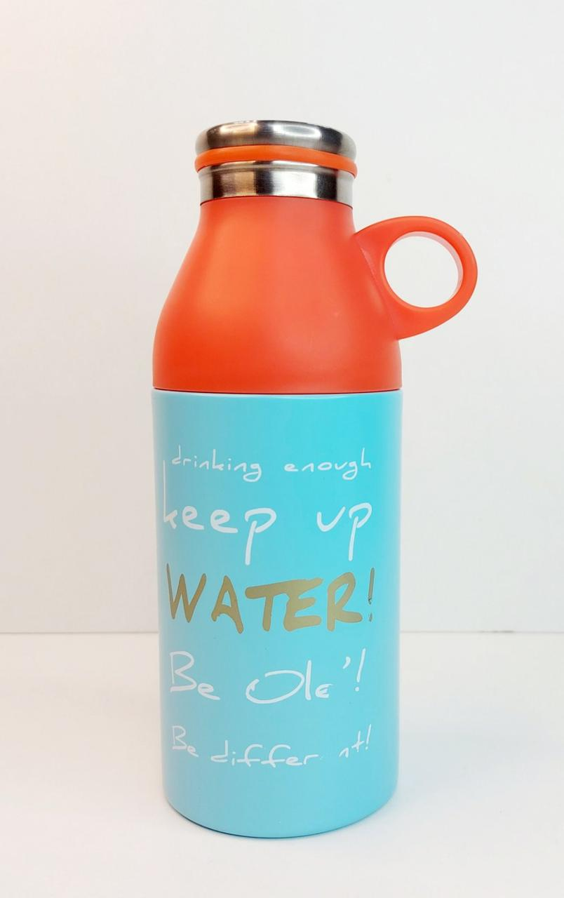 Термос вакумный ,термокружка чашка, стакан, кружка с поилкой и чашкой голубой