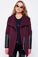Женское пальто из кашемира с кожаным рукавом на осень-весну, фото 1