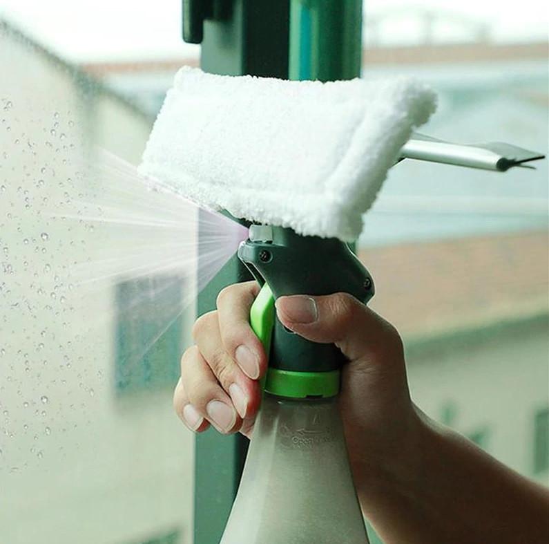 Щетка для мытья окон 3 в 1 Easy Glass Spray Window Cleaner, Щетка для стекла со спреем, Швабра с распылителем