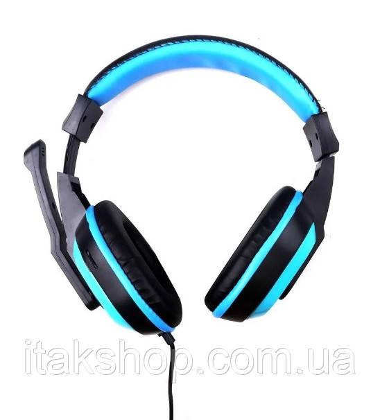Игровые наушники Kebidu для компьютера с микрофоном (Черные с синим)
