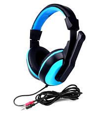 Игровые наушники Kebidu для компьютера с микрофоном (Черные с синим), фото 2