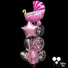Фонтан шаров для выписки из роддома *Девочка*