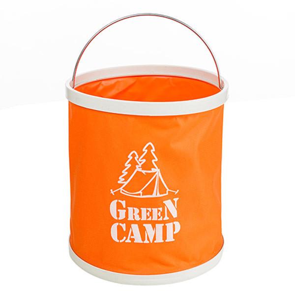 Ведро туристическое GreenCamp, 11л складное Оранжевый