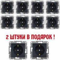 (АКЦІЯ!!! 8+2 шт.) Розетка з заземленням Schneider electric Asfora антрацит