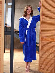 Халат женский махровый длинный Синий/Белый (Турция)