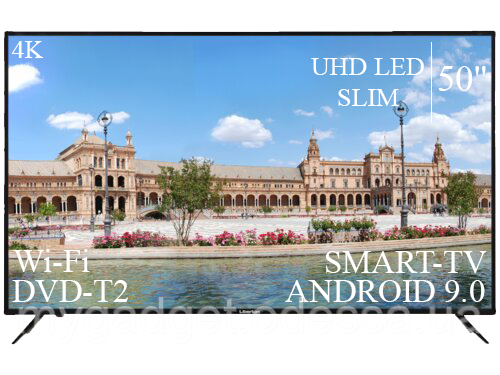 "Современный Телевизор Liberton 50"" Smart-TV//DVB-T2/USB АДАПТИВНЫЙ UHD,4K/Android 9.0"