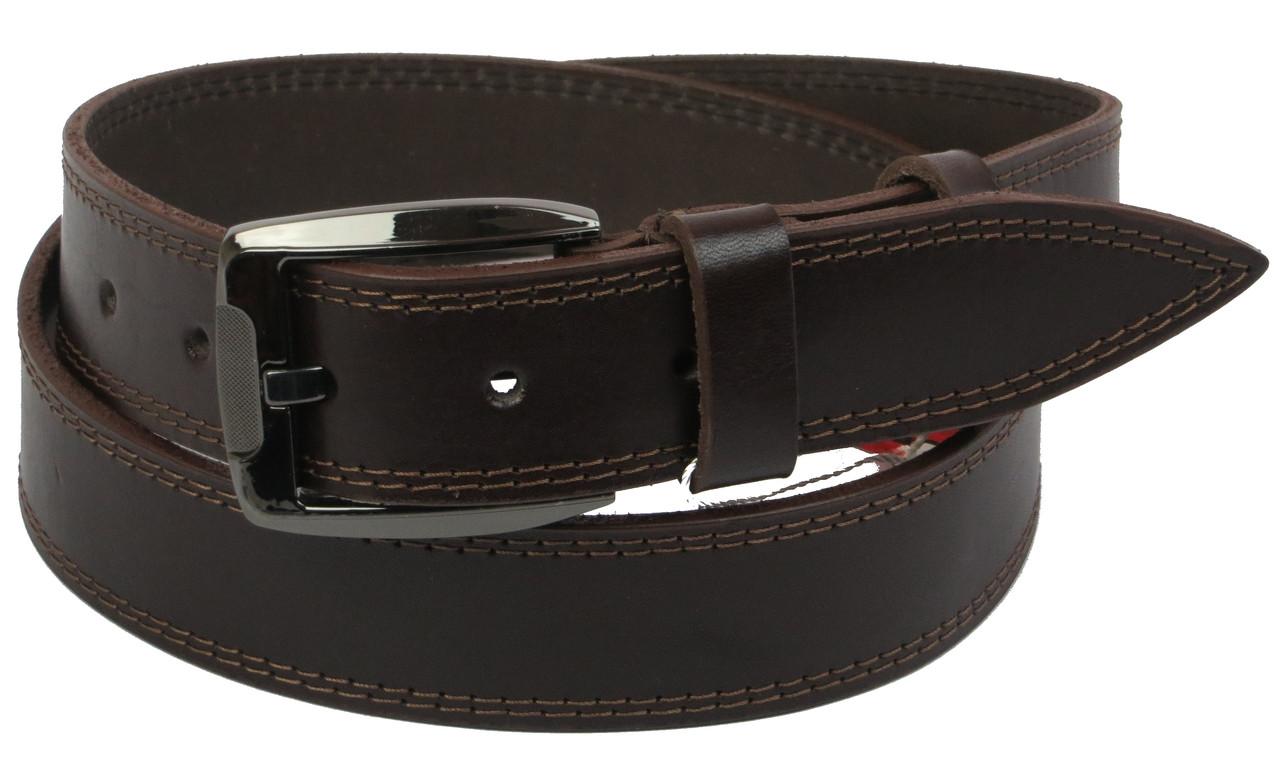 Мужской кожаный ремень под джинсы Skipper 1114-38 коричневый ДхШ: 130х3,8 см.