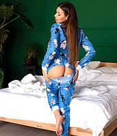 Пижама женская с карманом на попе попожама Синие собачки синяя комбинезон кигуруми