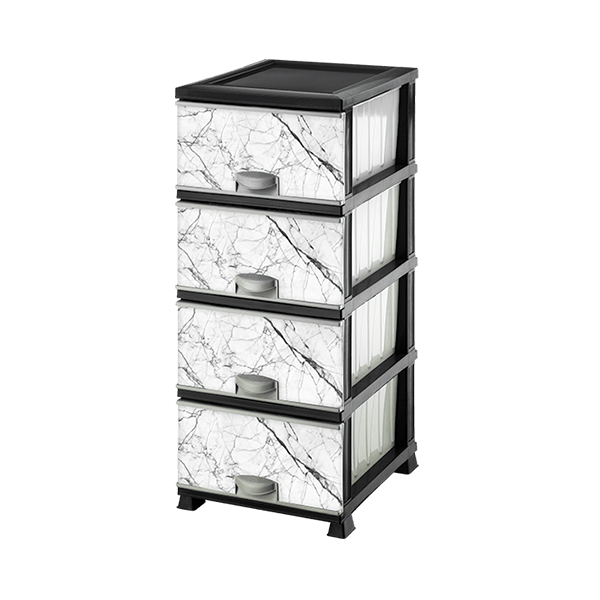 Комод пластиковый  Elif Plastik 298 Белый мрамор 38x46x90