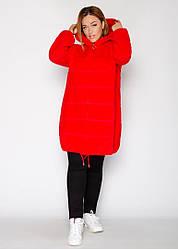 Женское Пальто из альпаки с капюшоном, красное пальто, с брошкой Батал