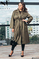 Женское осеннее пальто на запах замш на дайвинге размер: 50-52, 54-56, 58-60, 62-64