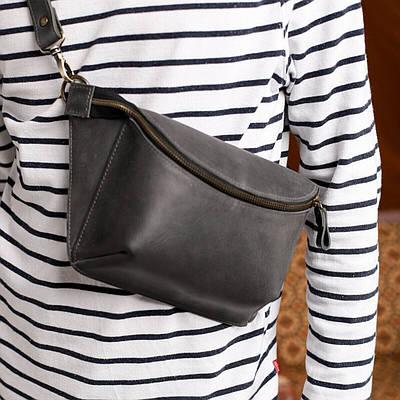 Жіноча шкіряна сумка на пояс сірого кольору. Жіноча сумка з натуральної шкіри. Жіноча сумка на пояс