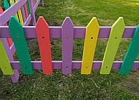Разноцветный заборчик из дуба  для детей 2000х500 мм