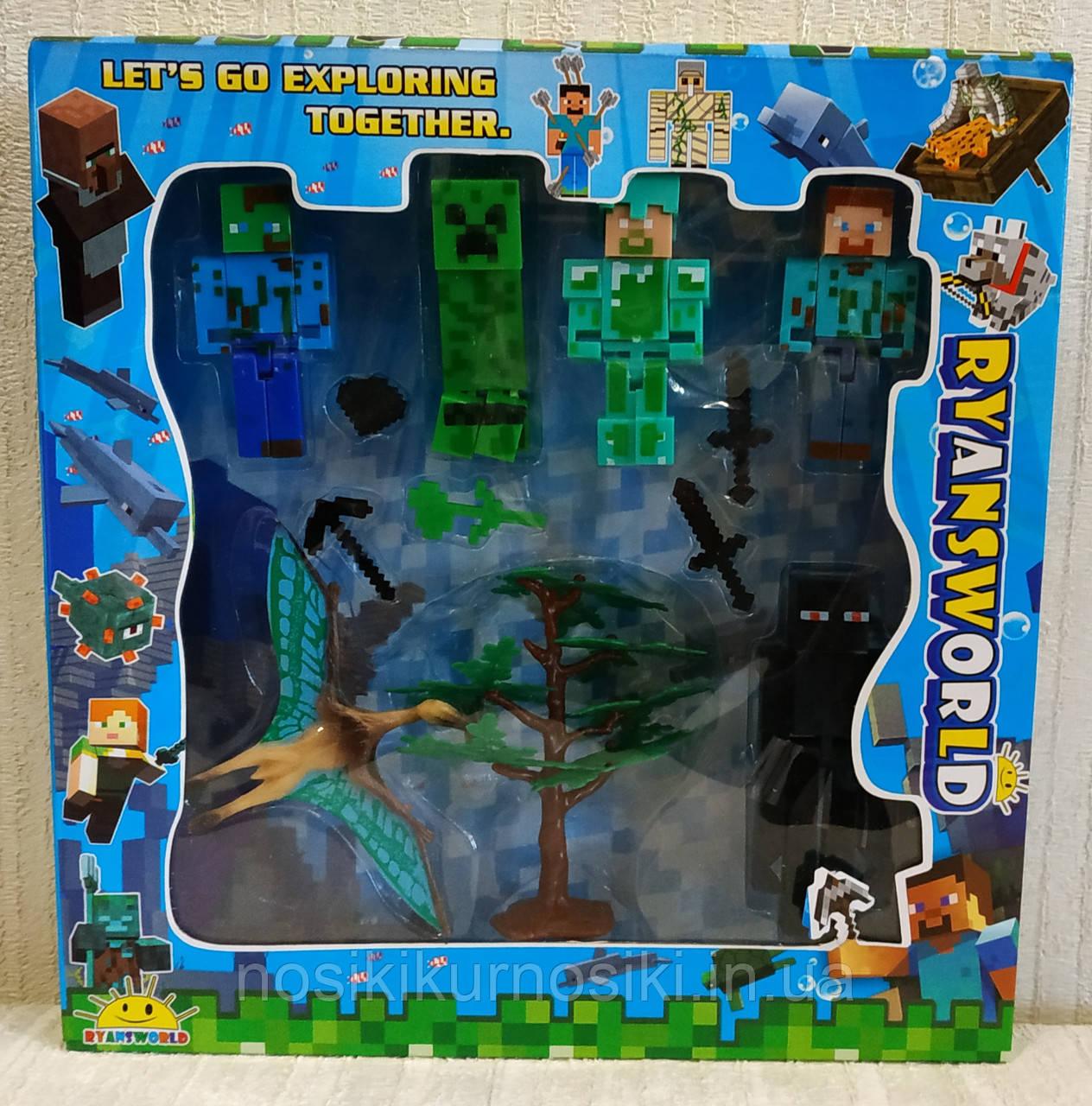Фигурки Minecraft Герои Майнкрафт — 5 героев, динозавр, дерево J05