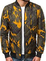 Мужской бомбер демисезонный стеганый. Куртка мужская весенняя / осенняя принт камуфляж.
