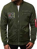 Мужской бомбер демисезонный цвета хаки. Куртка мужская весенняя / осенняя зеленого цвета.
