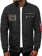 Бомбер мужской демисезонный черный. Куртка мужская весенняя / осенняя черного цвета.