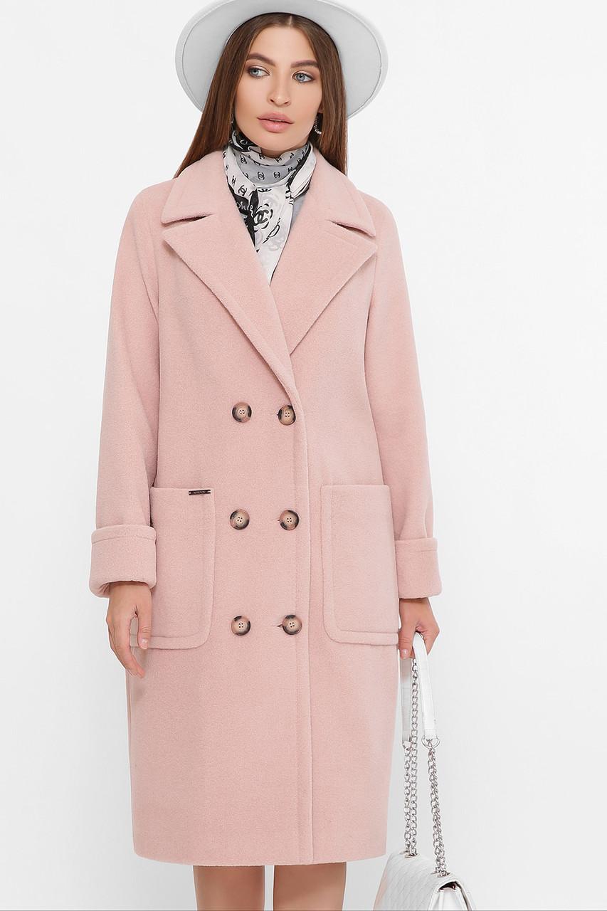 Женское демисезонное пальто с накладными карманами пудровое П-347-100