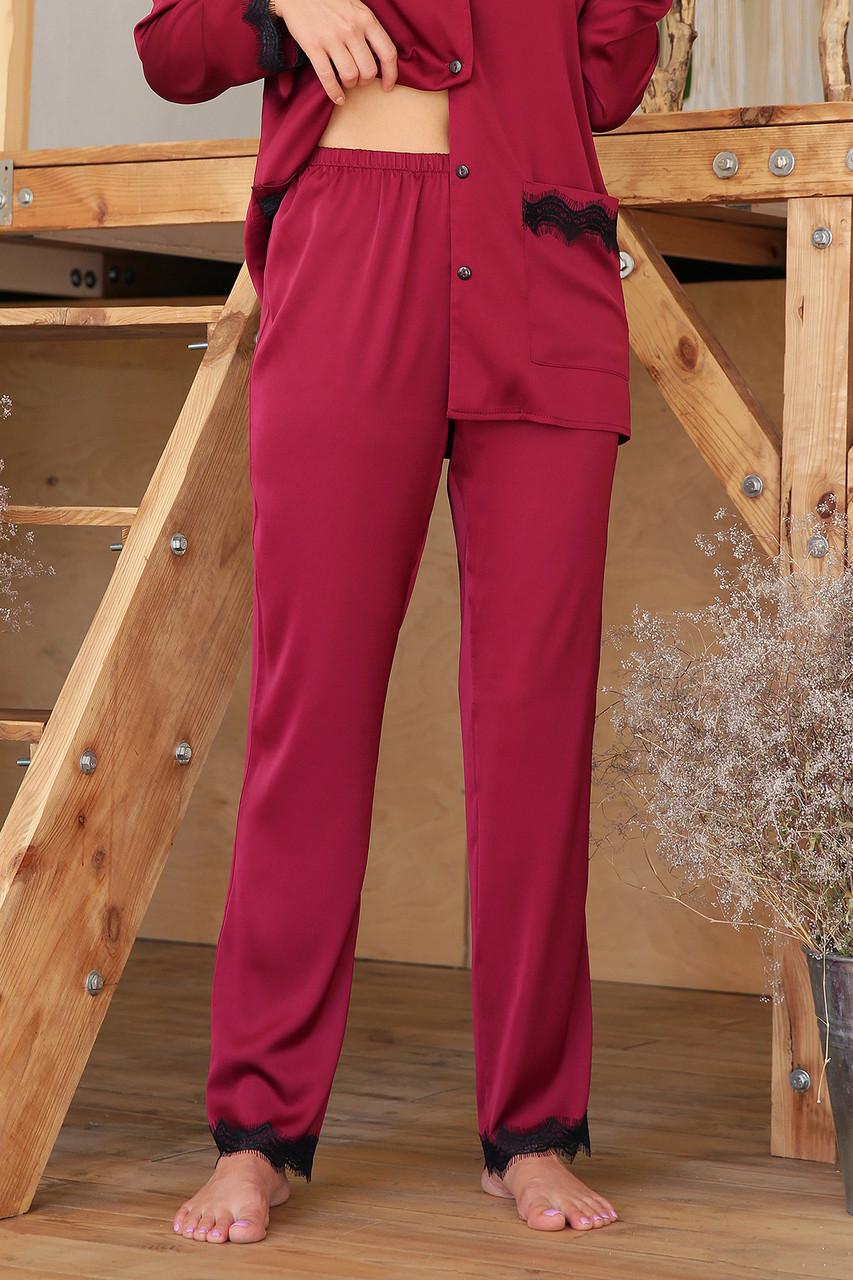 Штаны женские для дома с кружевом бордовые Долорес