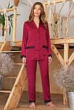 Штаны женские для дома с кружевом бордовые Долорес, фото 3