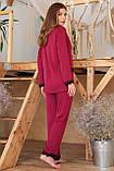 Штаны женские для дома с кружевом бордовые Долорес, фото 4