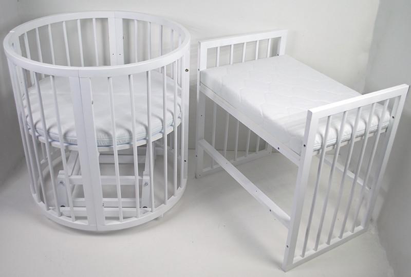 Детская кроватка Круглая Каприз Бук 8 в 1, маятник, колеса, БЕЗ МАТРАСА (Белая)