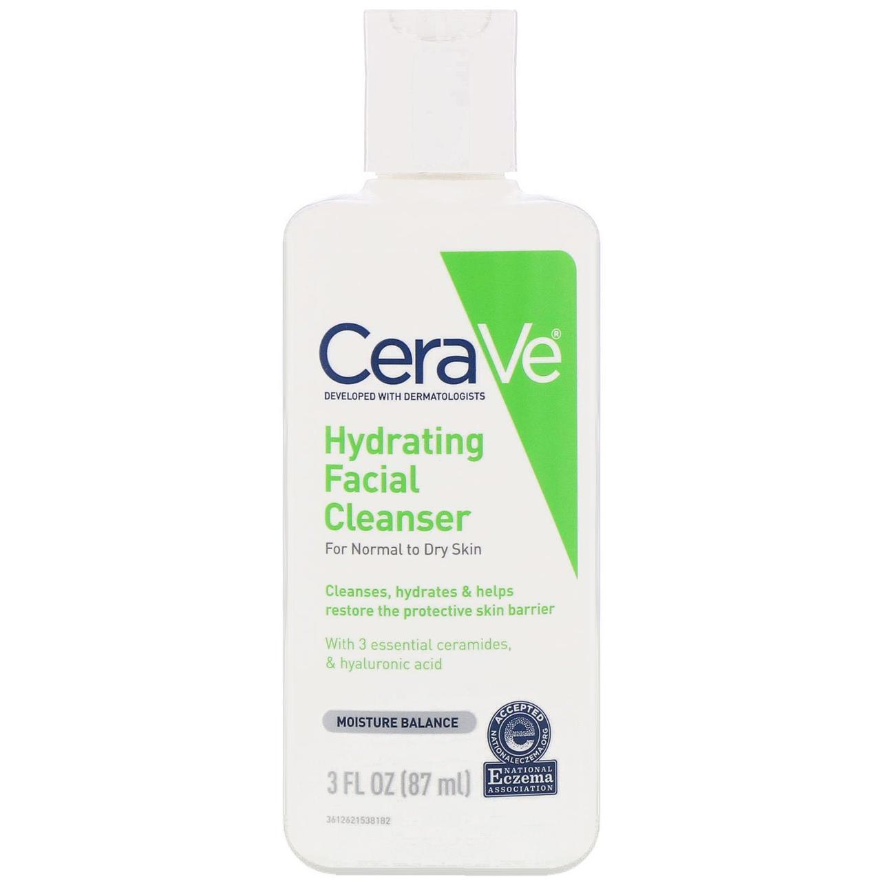 Увлажняющее, очищающее средство для лица, для нормальной и сухой кожи, 87 мл  CeraVe