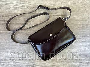 Женская сумка Mimi ручной работы из натуральной кожи на кнопке цвет темно-коричневый