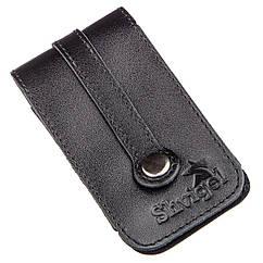 Компактная кожаная ключница с хлястиком SHVIGEL 13988 Черная