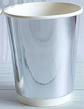 Набор бумажных стаканов цвет серебряный 185мл 5шт