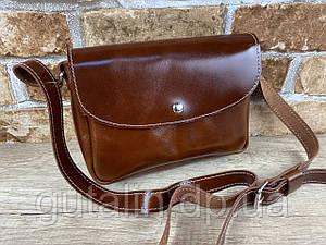 Женская сумка Mimi ручной работы из натуральной кожи на кнопке цвет светло-коричневый