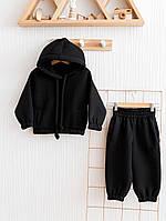 """Детский теплый костюм на флисе """"Over"""" черный, размер 80,86, 92, 98, 104, 110р."""