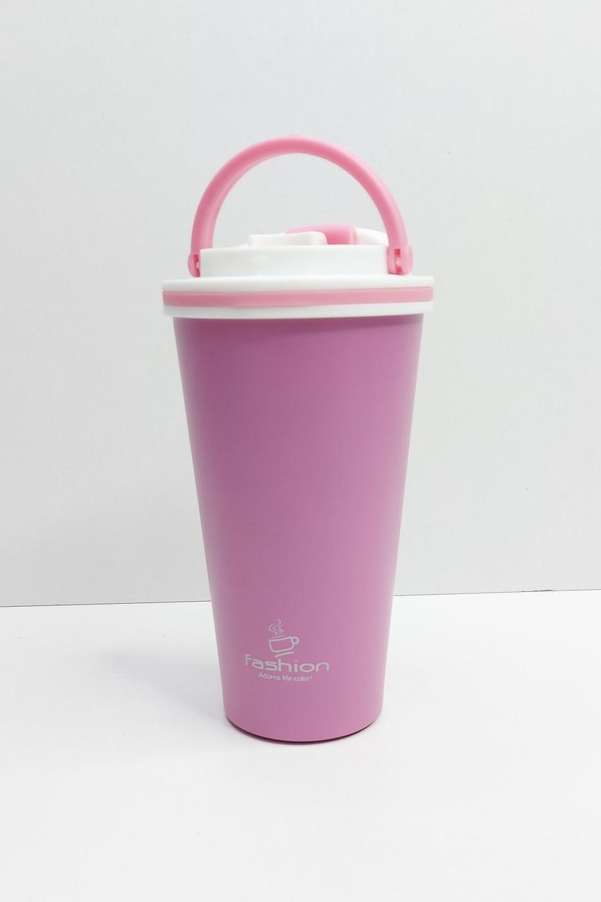 Термокружка латте с ручкой для переноски с поилкой розовый