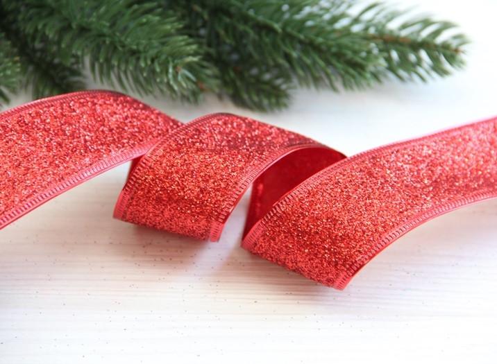 "Лента блестящая новогодняя 3,8 "" Метал ""  , красная     ,    рулон 45 метров"