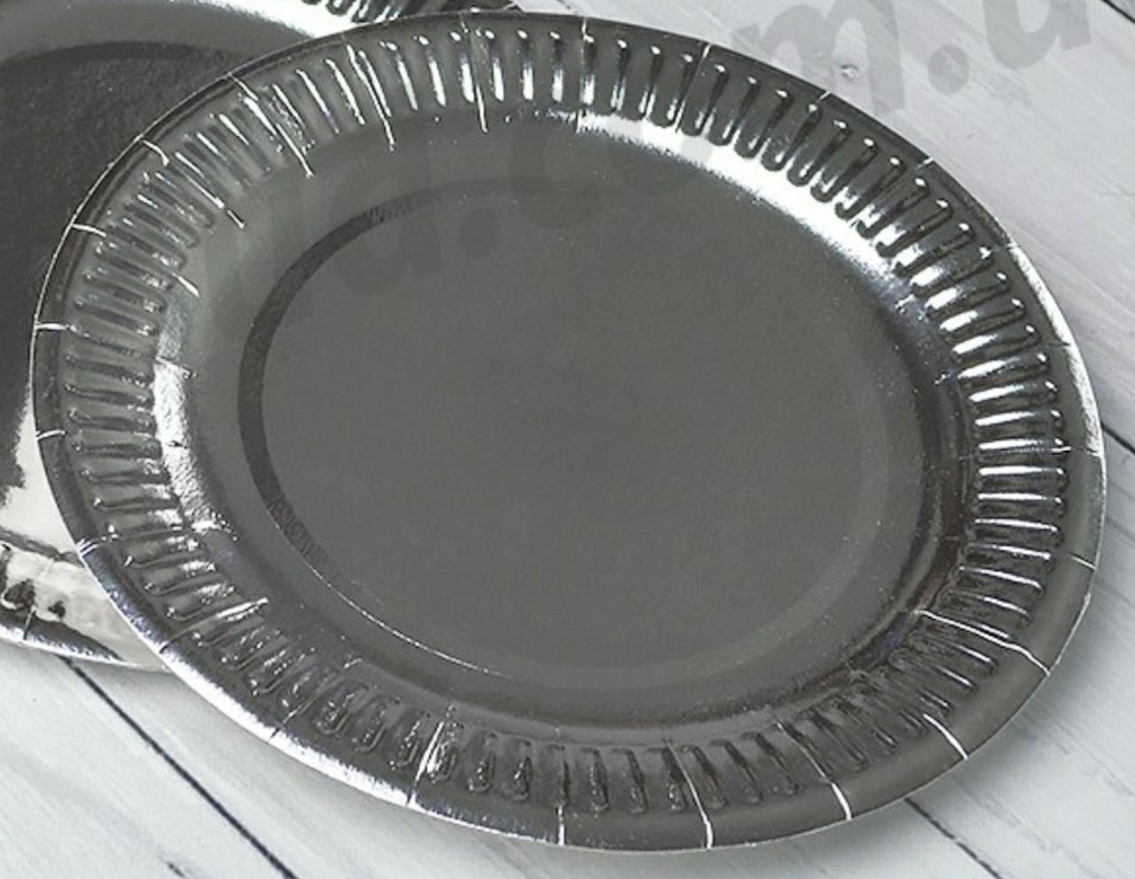 Паперова тарілка срібний 18,0см. упаковка 5шт.