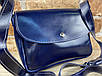 Женская сумка Mimi ручной работы из натуральной кожи на кнопке цвет темно синий, фото 8