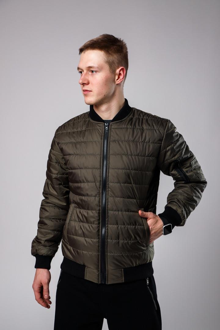 Мужская коричневая стеганая куртка короткая без капюшона.Мужская коричневая ветровка осень/весна бомбер
