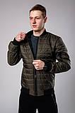 Мужская коричневая стеганая куртка короткая без капюшона.Мужская коричневая ветровка осень/весна бомбер, фото 2