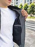 Мужской серый короткий кашемировый бомбер осень весна. Мужская кашемировая ветровка куртка кофта серая, фото 4