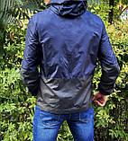 Miracle Raincoa Мужская синяя удлененая ветровка с капюшоном.Мужская спортивная куртка для бега стеганая, фото 3