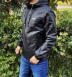 Miracle Raincoa Мужская синяя удлененая ветровка с капюшоном.Мужская спортивная куртка для бега стеганая, фото 5
