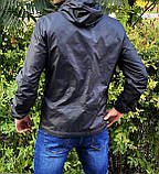 Miracle Raincoa Мужская синяя удлененая ветровка с капюшоном.Мужская спортивная куртка для бега стеганая, фото 6