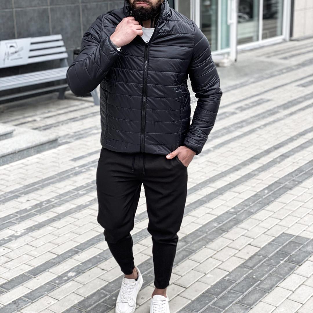 Asоs Мужская черная стеганая короткая куртка без капюшона.Мужская ветровка короткая демисезонная бомбер черная