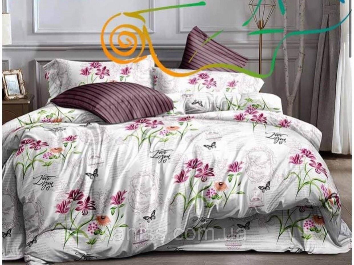 """Двоспальний набір постільної білизни """"ранфорс"""", колір як на фото, квіти на білому"""