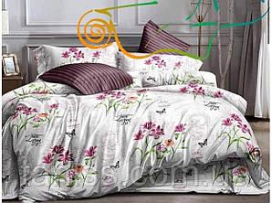 """Евро комплект постельного белья  """"ранфорс"""", расцветка как на фото, цветы на белом"""