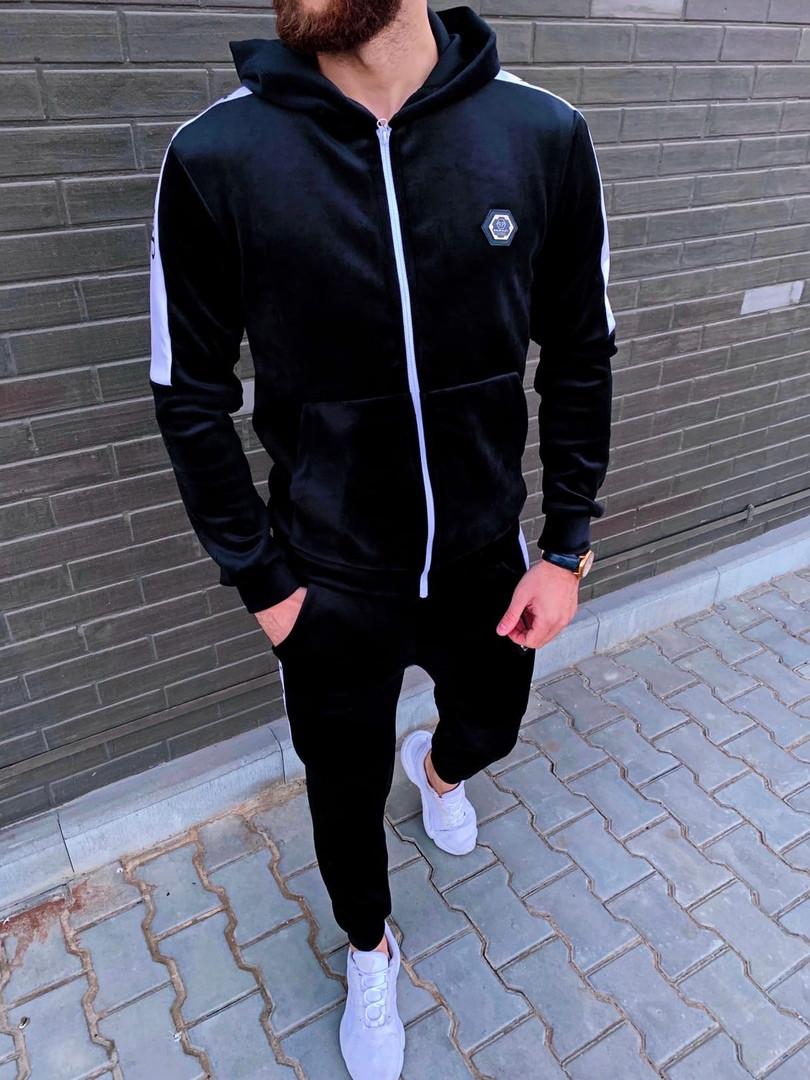 Philipp Plein мужской черный спортивный костюм велюр с капюшоном зима осень.Plein Кофта+штаны спорт черный