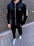 Philipp Plein мужской черный спортивный костюм велюр с капюшоном зима осень.Plein Кофта+штаны спорт черный, фото 2