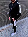 Philipp Plein мужской черный спортивный костюм велюр с капюшоном зима осень.Plein Кофта+штаны спорт черный, фото 3