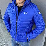 Under Armour Мужская серая короткая стеганая куртка с капюшоном осень весна.Мужская ветровка  демисезонная, фото 2