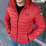 Under Armour Мужская серая короткая стеганая куртка с капюшоном осень весна.Мужская ветровка  демисезонная, фото 3